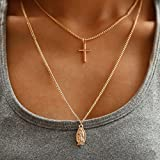 Artio Layered Necklace Jewelry with Cross and