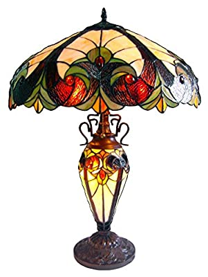 """Chloe Lighting CH18780VI18-DT3 Tiffany-Style Victorian 3-Light Double Lit Table Lamp with 18"""" Shade"""