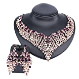 Women Bridal Rhinestone Crystal Statement Necklace Earring Wedding Dress Jewelry Sets (Purple1)