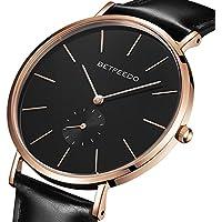 [Patrocinado] BETFEEDO - Reloj minimalista para hombre, cuarzo clásico, con correa de piel, esfera de cerámica, Rosegold/Negro