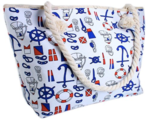 Canvas Tote Bag - Shoulder Tote, Perfect for School, Work, or the Beach. Large Compartment - Nautical Theme 17 x 12