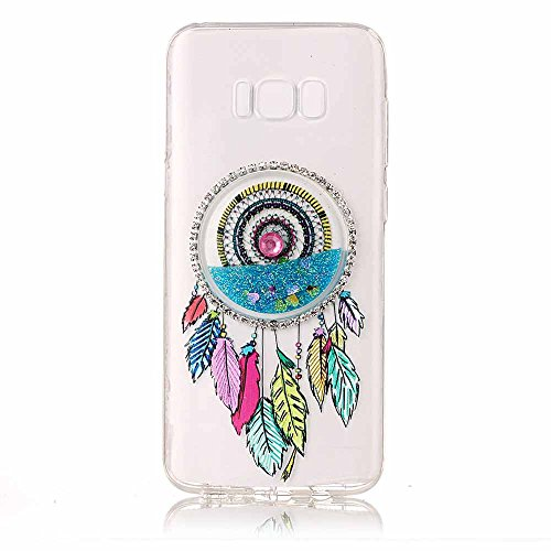 Price comparison product image Galaxy S8 Plus Liquid Clear Cover [Free Tempered Glass Screen Protector], Dfly-US Soft Slim TPU 3D Diamonds Quicksand Flowing Glitter Bling Dream Catcher Case for Samsung Galaxy S8 Plus, Light Blue