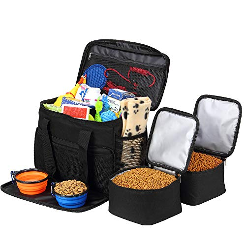 Coopeter Pet Travel Bag for Dog,Weekend Tote Organizer Bag-Includes 1 Dog Tote Bag,2 Dog Food Carriers Bag,2 Pet Silicone Collapsible Bowls.(Black) ()