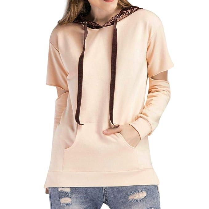 Mujer Sudaderas, ASHOP Blouses Campesinas Embroidery Sweatshirt Casual Encapuchado Sudadera Mujer Top Deporte (Beige