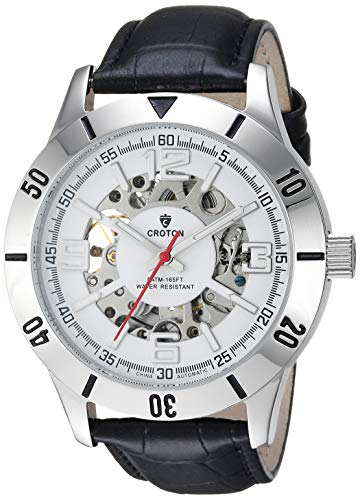 CROTON Men's Imperial Stainless Steel Chinese-Automatic Watch with Leather Strap, Black, 21.5 (Model: CI331093BSSL)