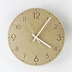 Stylish, Silent Wall Clock Home,Kitchen,Office,Living Room,School Clock, Easy to ReadWooden Large Fashion Creative Simple Modern Garden Wall Clock Wood Living Room Bedroom Silent Clock, 35cm