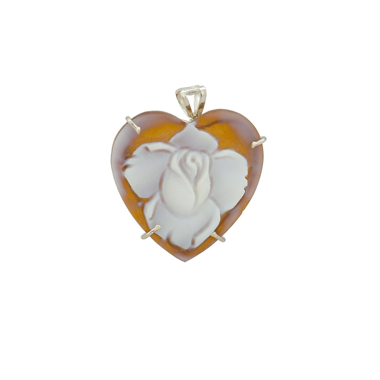 Rose Cameo Brooch/Pendant - Christian Rose Heart Sardonyx Cameo Brooch/Pendant 25x25mm