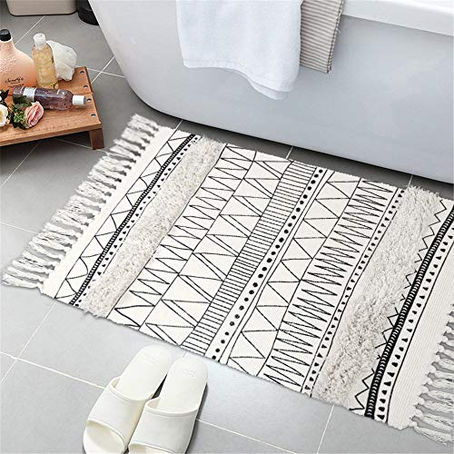 Tufted Cotton Area Rug, KIMODE Hand Woven Print Tassels Throw Rugs Carpet Door Mat,Indoor Area Rugs for Bathroom,Bedroom,Living Room,Laundry Room (2' x 4.3', Geometric Black-White) - Flair Cotton Rug