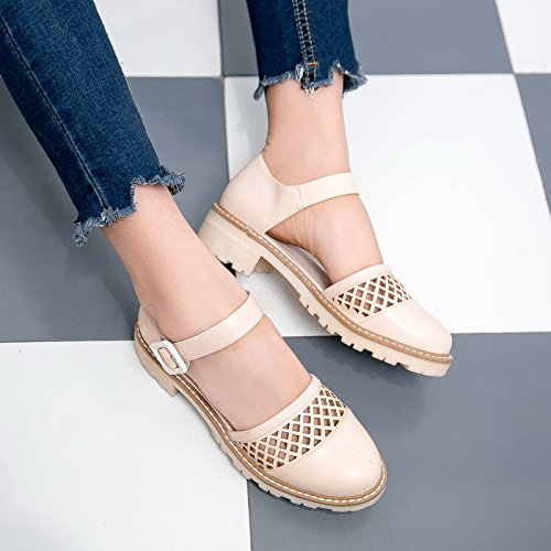 Show Buckles Janes Women's Chunky Shoes Mary Heel Shine Hollows Beige r6PyOSqrw