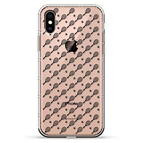 (TENNIS RACKET AND BALL PATTERN | Luxendary Air Series Clear Silicone Case with 3D printed design and Air-Pocket Cushion Bumper for iPhone Xs Max (new 2018/2019 model with 6.5