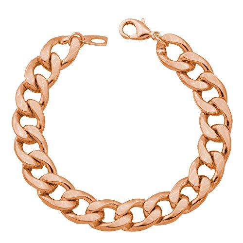 (Men Heavy Chunky Curb Chain Bracelet Rose Gold Plated 11MM Thick Solid Cuban Link Bracelets - 8.3 Inch)