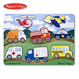 Melissa & Doug VEHICLES Wooden Peg Puzzle (Colorful Vehicles artwork, Extra-Thick Wooden Construction, 8Piece, 15.5' H X 11.2' W X 1.6' L)