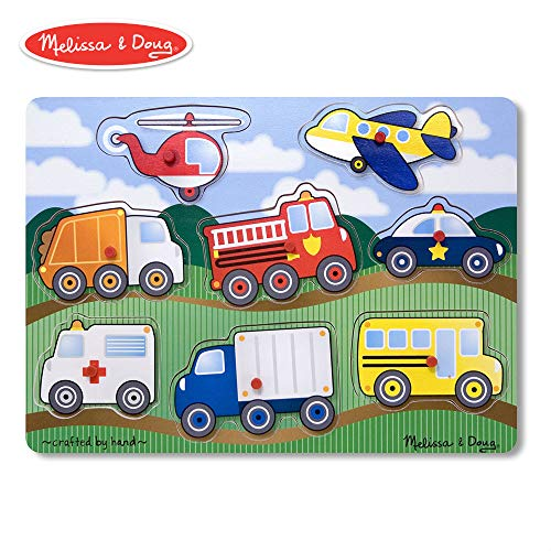 "Melissa & Doug VEHICLES Wooden Peg Puzzle (Colorful Vehicles artwork, Extra-Thick Wooden Construction, 8Piece, 15.5"" H X 11.2"" W X 1.6"" L)"