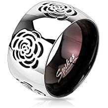 STR-0010 Stainless Steel Two Tone Black IP with Grooved Rose Band Ring; Comes With Free Gift Box