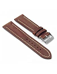 DASSARI Avant Rust Distressed Italian Leather Watch Band for BREITLING 24/22 24mm
