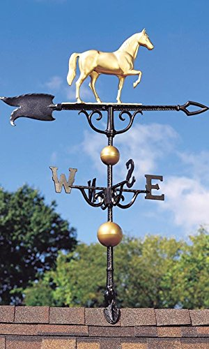 Whitehall Products Traditional Directions - Whitehall Products Horse Weathervane, 46-Inch, Gold/Bronze