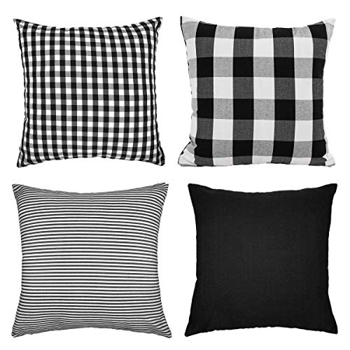 4TH Emotion Black and White Buffalo Check Plaids Throw Pillow Case Cushion Cover Cotton Canvas for Sofa 18 x 18 Inch Set of 4 Fall Halloween Home Decor