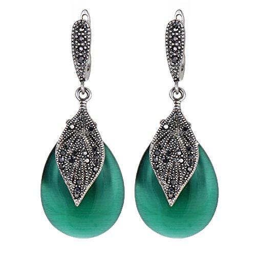 - Yfnfxl Women's Vintage Green Teardrop Dangle Earrings With Rhinestone Leaf