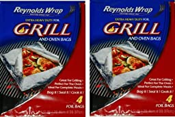 Reynolds Wrap Extra Heavy Duty Foil Grill & Oven Bags, 4 Count (Pack of 2)