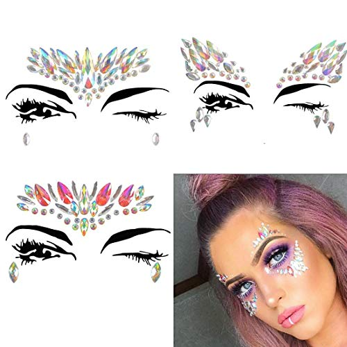3 PCS New Diamond Rhinestone Mermaid Face Jewels Tattoo, Body Stickers Crystal Tears Gem Stones Bindi Temporary -
