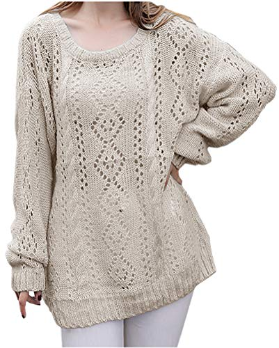 Maternity Crewneck Cable Sweater - ARJOSA Women's Fashion Oversized Knitted Crewneck Casual Pullovers Sweater (#8 White)