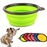 AStorePlus Portable Collapsible Dog Bowls Foldable Expandable Cup Dish For Feed & Water, Green