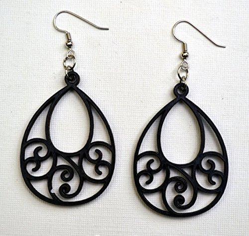 Teardrop Open Scrolled Wood Earrings from Solid Black Maple Wood