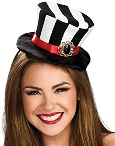 Rubie's Costume Co Women's Black and White Striped Mini Top Hat, Black/White, One Size - Jester Girl Costumes