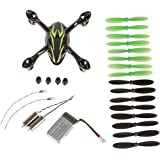 Qiyun Crash Pack for X4 H107C Quadcopter, Includes Body Shell, 8x Pair of Black and Green Propellers, Flight Battery, 4x Rubber Feet, 2x Motors, Black/Green