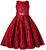 Vamelia Floral Lace Girl Dress with Rhinestone Belt for Little Girl Graduation Pageant Ball Gown, Wine Red 130