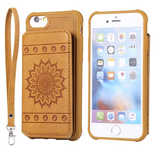iPhone 6 Plus/6S Plus Case,DAMONDY Luxury Flower Sunflower Wallet Purse Card Holders Design Cover Soft Shockproof Bumper Flip Leather Kickstand Clasp Wrist Strap Case for iPhone 6s Plus-Brown (4g Iphone Flowers)