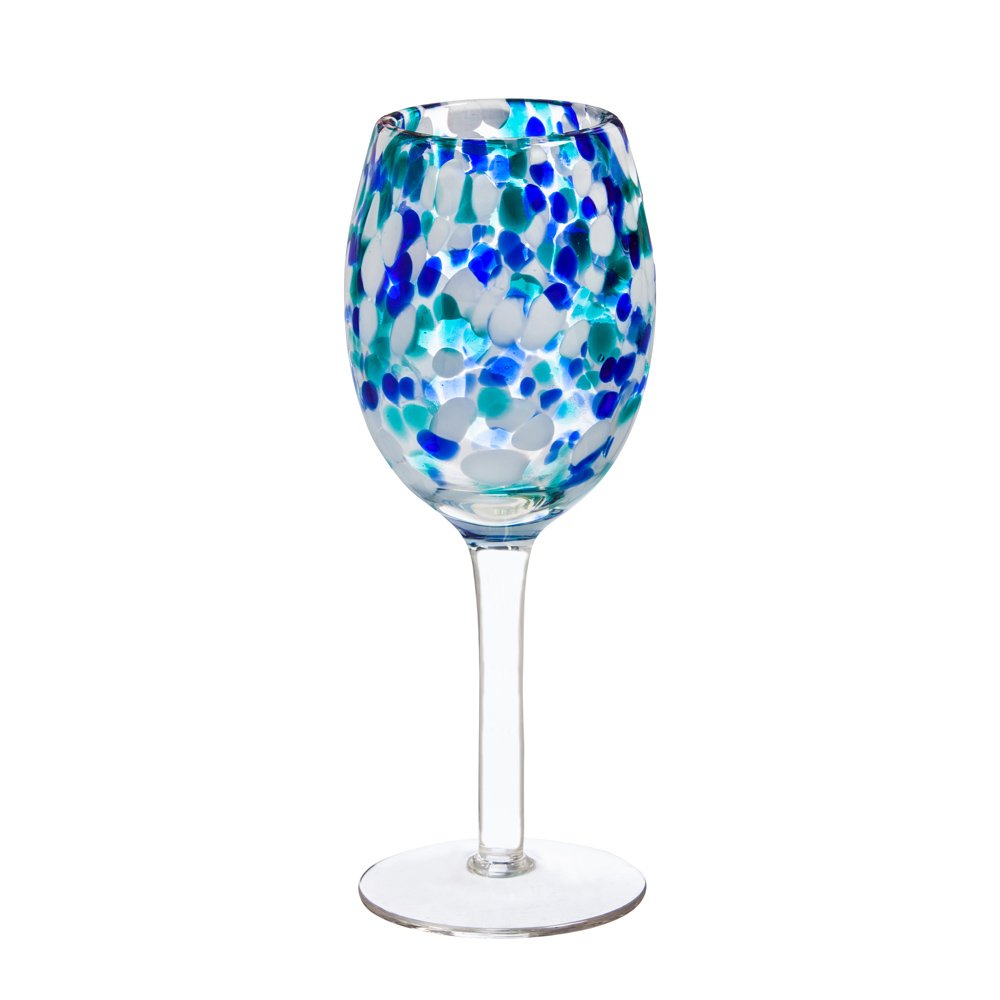 Cypress Home Blue Confetti Wine Glass, 350mls   B01N683YJF