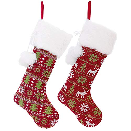 Valery Madelyn Set of 2 21 Classic Collection Splendor Knit Christmas Stockings with Pom Pom Balls and Fur Cuff, Themed with Tree Skirt (Not Included)