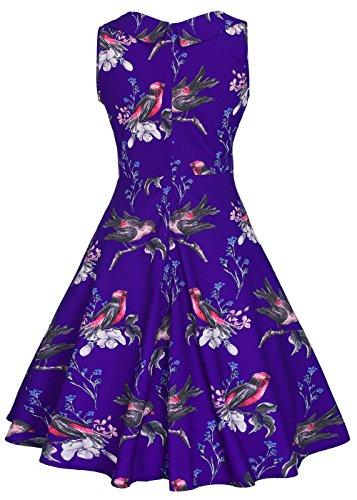 Cou Sans Oiseau Cocktail Cru Floral Impression Bleu Manches Partie Robe Femmes V Manches Sans impression dYa8XqXx