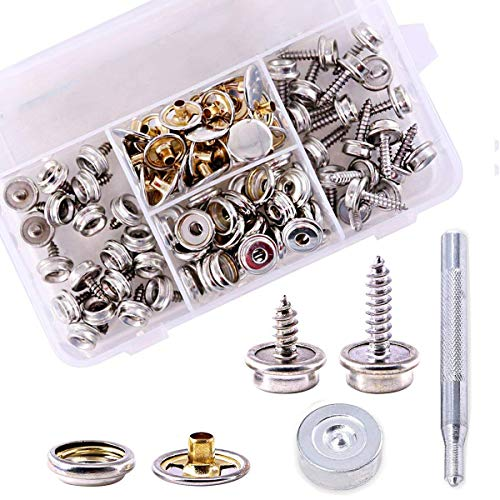 120Pcs (40 Sets) Fastener Screw Snaps,Stainless Steel Marine Grade Canvas and Upholstery Boat Cover Snap Button with 2Pcs Setting Tool for Furniture Canvas Fabric - Furniture Canvas