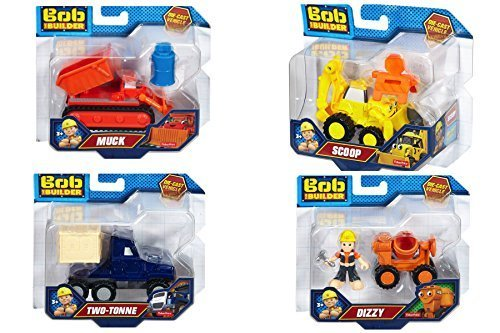 Bob the Builder Die-Cast vehicle set, Two-Tone, Dizzy, Scoop, Muck