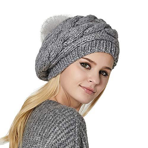 (DFUCF Women Knit Slouchy Beanie Winter Soft Beret Hat Pompom Ski Cap Stretchy Ribbed,Grey-OneSize)