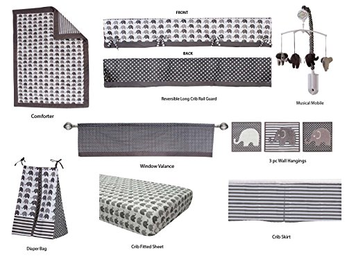 Bacati Elephants Unisex 10 Piece Nursery-In-A-Bag Crib Bedding Set with Long Rail Guard, Grey (Accesory Set)