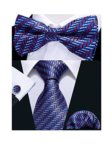 (Barry.Wang Tie Bowtie Set for Men Pocket Square Cufflinks Red Stripe Necktie Blue Color)