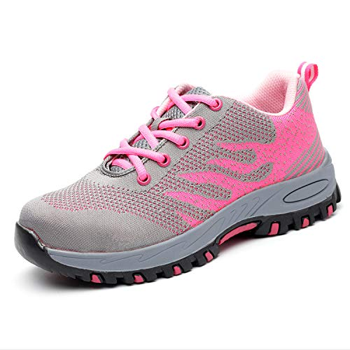 UPSTONE Work Shoes for Men, Indestructible Steel Toe Battlefield Shoes Work Safety Womens Shoes Breathable Construction Sneakers, 113 Pink 39