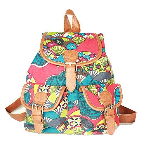 Top Shop Womens Canvas Floral Backpack Travel Daypack Tote School Bags Shoulder Red - Designer Fashion Phillip Lim
