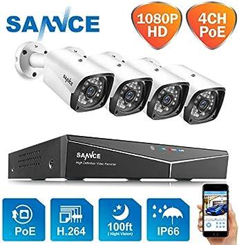 SANNCE 1080P PoE - Sistema de vigilancia por Red (4 cámaras NVR+4 ...