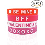 Cualfec 24 PCS Valentine's Day Gift Silicone Bracelets Valentine's Day Party Favor Bulk Toys for Kids and Adults - 4 Colors