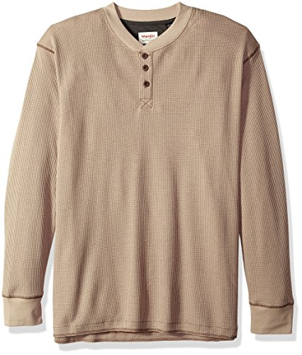 Wrangler Authentics Men's Tall Size Big Long Sleeve Waffle Henley, Pumice Stone, XLT