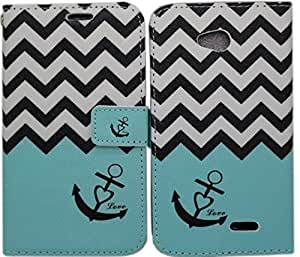 iviva presents LG Optimus L70 Designed Luxury Magnetic Wallet Case PU Leather Credit Card Holder Flip Cover + A Clear Screen Protector + A Stylus Pen + 3.5mm Anti-dust Plug (Teal Chevron Anchor)