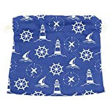 Dragon Sword Sea Nautical Lighthouse Compass Gift Bags Jewelry Drawstring Pouches for Wedding Party, 5.5x5.5 Inch