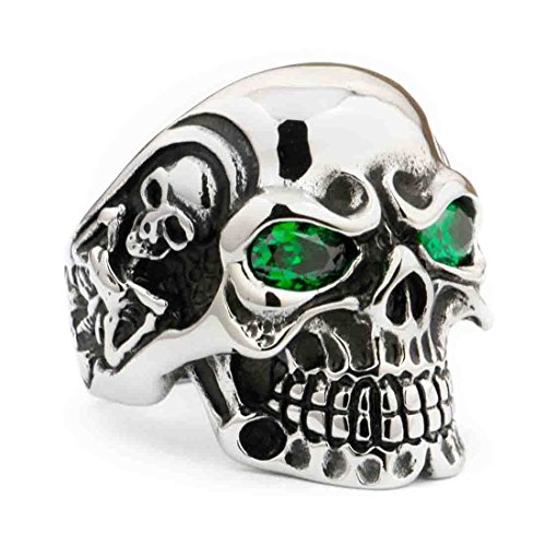 LINSION Skull Ring With Green Eyes of 316L Steel Stainless, CZ Titan High Smooth Polished Black Silver Tone Rings For Biker Boys Rocker Ring 3A301 (12)
