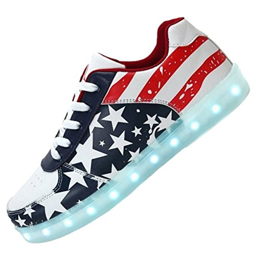 (Présents:petite serviette)JUNGLEST® Ezflora Unisexe Femmes Hommes USB Charge LED Chaussures lumineuses clignotantes American Flag Chaussures Running Light Up Couples Sneakers Cas Rouge