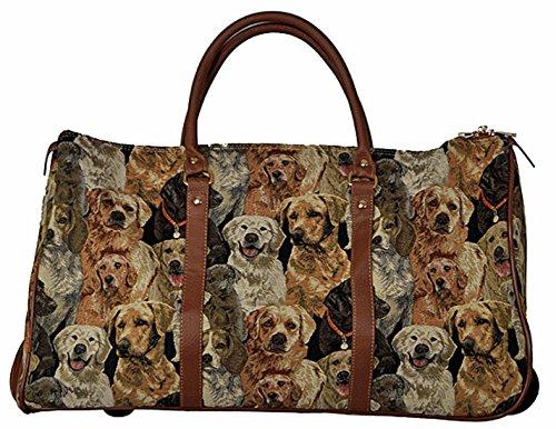 5145JLSdYWL - Trolley Familia de perros con mango extensible Bolsa de viaje ruedas Asa tapiz tapiz royaltex Signare Bolsa de viaje Equipaje FA. bowatex