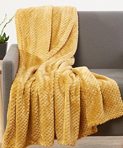 JCV Group Hotel Elements Luxurious Softness Extra Comfy Velvet Throw Blanket, 50x60 (Mustard)